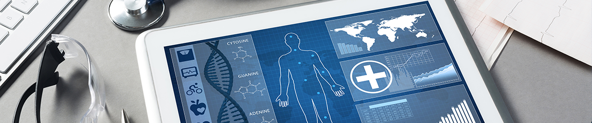 Digital Health Innovations Header - Illustration of man on tablet