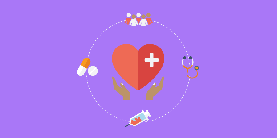 health icons around a heart