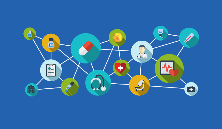 medical and health care icons connected by web