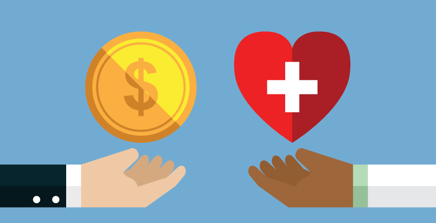 one hand holding coin, one handing holding heart with med symbol
