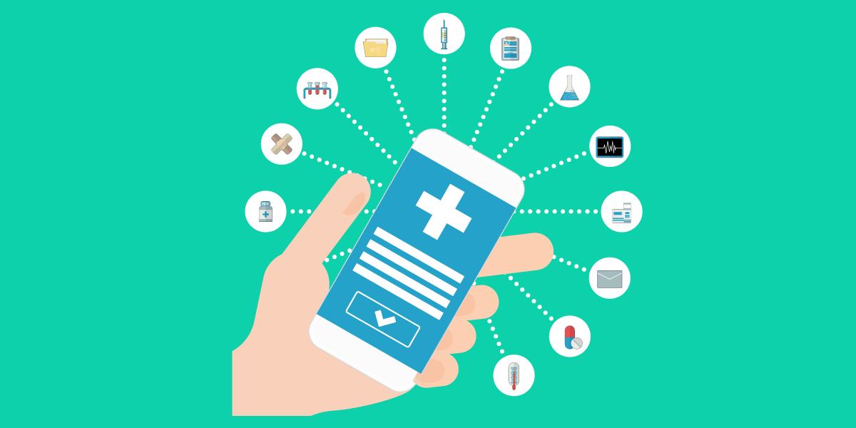 Hand holding phone with medical apps